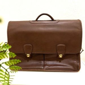 Vintage Coach Genuine Brown Leather Briefcase